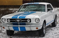 1965 Coupe Mustang White with blue stripes